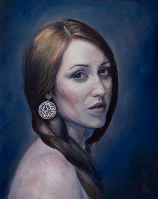 Portrait , femme, belle, peinture, Lydia Pepin